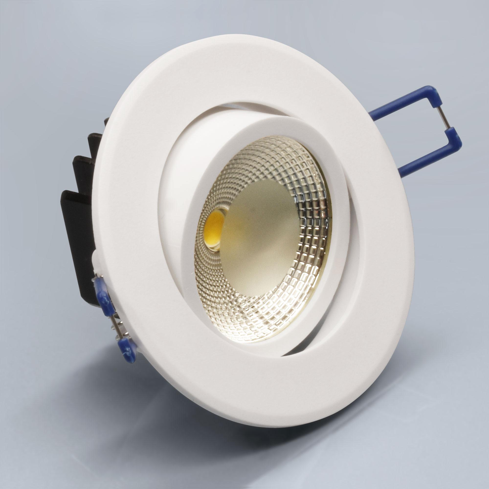 led einbaustrahler einbauspot einbau spot lampe 5w warmwei rund wei l0930e ebay. Black Bedroom Furniture Sets. Home Design Ideas